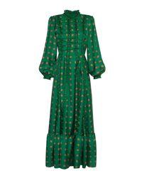 Lisou Gigi Green Peacock Print High Neck Ruffle Silk Dress