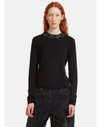 Fendi Leather Flower Appliqué Knit Sweater In Black