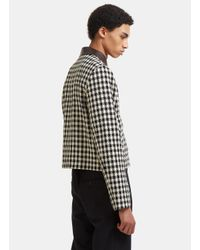 Wales Bonner - Louis Leather Collared Checked Jacket In Black And White for Men - Lyst