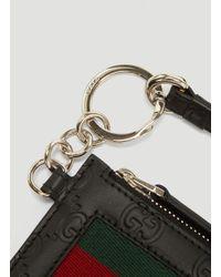 Gucci Web Strap Leather Card Case In Black for men