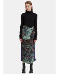 Anntian Asymmetric Floral Seersucker Skirt Pants In Blue
