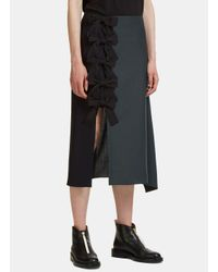 Fendi Draped Two-tone Bow Skirt In Green And Black