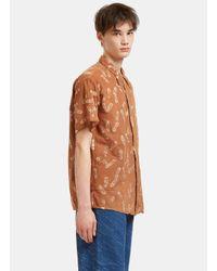 STORY mfg. Men's Shore Print Short Sleeved Shirt In Brown for men