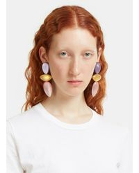 Monies | Purple 7722 Painted Clip-on Drop Earrings In Lilac, Gold And Pink | Lyst
