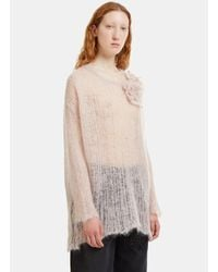 Valentino - Oversized Floral Appliqué Holed Knit Sweater In Blush Pink - Lyst