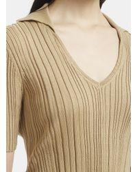 Jacquemus Marinheiro Short Sleeve V-neck Knit Top In Brown