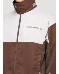 Youths in Balaclava Brown Embroidered Logo Jacket for men