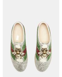 Gucci Metallic Bee Glitter Sneaker In Silver
