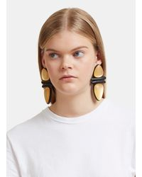 Monies - Metallic 7798 Ebony And Gold Leaf Clip-on Earrings In Black And Gold - Lyst