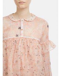 Renli Su Peter Pan Collar Silk Ruffle Blouse In Pink