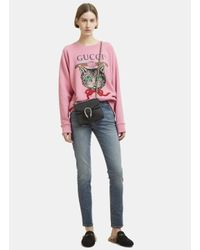 Gucci Logo Sequinned Mystic Cat Sweater In Pink