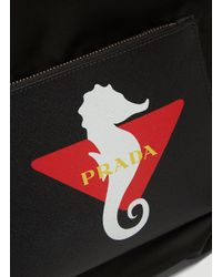 Prada Seahorse Print Drawstring Backpack In Black for men