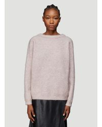Acne Loose Knit Crew Neck Sweater In Green