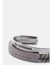 Saint Laurent - Metallic Name Tag Bracelet Set In Silver for Men - Lyst