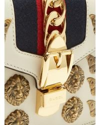 Gucci Mini Sylvie Insect Shoulder Bag In White