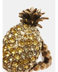 Gucci - Metallic Crystal-studded Pineapple Ring In Gold - Lyst
