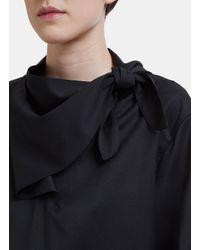 Vejas Handkerchief Tie Wool Gabardine Top In Black
