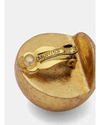 Monies - Metallic 7783 Small Gold Leaf Painted Sphere Clip-on Earrings In Gold - Lyst