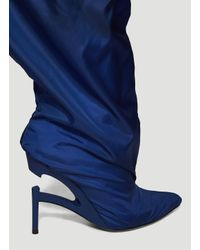 Unravel Project Double Layer Elephant Ankle Boots In Blue