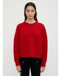 Acne Boxy Thick Ribbed Knit Sweater In Red