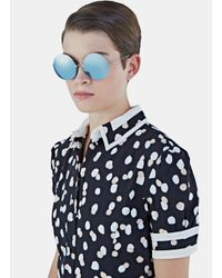 Christopher Kane - Women's Oversized Round Mirrored Sunglasses In Blue And Silver - Lyst