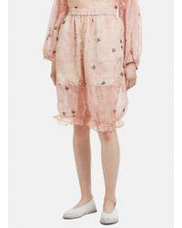 Renli Su Semi-sheer Silk Ruffle Pants In Pink