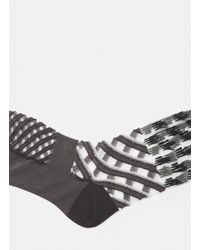 Issey Miyake Double Stream Texture Socks In Black for men