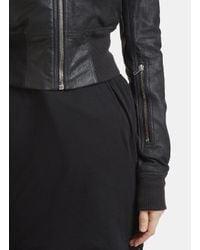 Rick Owens - Long Sleeve Rib Waist Leather Bomber Jacket In Black - Lyst