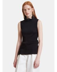 Fendi Women's Ruffle Collared Ribbed Tank Top In Black