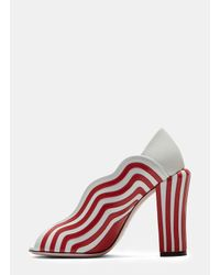 Fendi - Women's Candy Striped Heeled Sandals In White And Red - Lyst