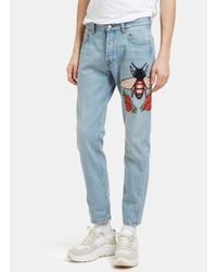 aacc7815cef Lyst - Gucci Men s Embroidered Floral Fly Patch Jeans In Blue in ...