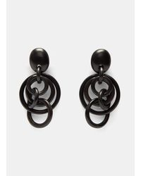 Monies | Women's Ebony Hooped Clip-on Earrings In Black | Lyst