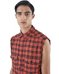 Saint Laurent - Black Men's Sleeveless Plaid Shirt Vest In Red for Men - Lyst