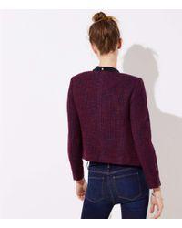 LOFT Multicolor Tweed Zip Jacket