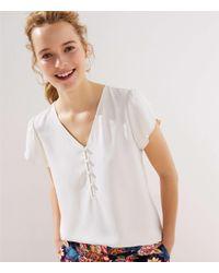 LOFT White Petite Buttoned Petal Sleeve Top