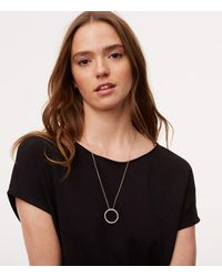 LOFT - Metallic Pave Circle Pendant Necklace - Lyst