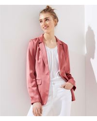 LOFT Pink Petite Sateen Long Blazer