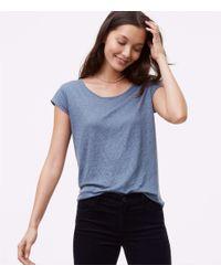 LOFT - Blue Linen Shirttail Tee - Lyst