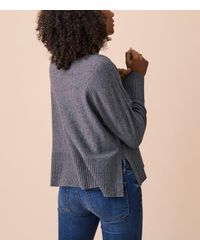 LOFT Gray Lou & Grey Specked Hi-rib Sweater