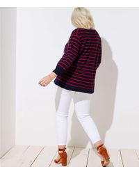 LOFT Blue Plus Striped Tie Neck Tunic Sweater