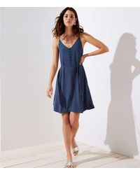 LOFT Blue Petite Covered Button Strappy Cami Dress