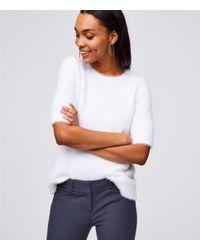 LOFT - White Petite Fuzzy Tie Back Sweater - Lyst