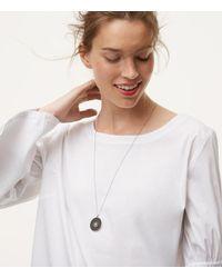 LOFT - Metallic Reversible Floral Pendant Necklace - Lyst