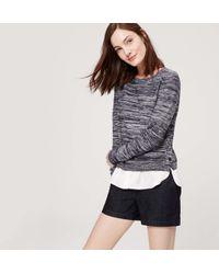 """LOFT - Blue Denim Riviera Shorts With 4"""" Inseam - Lyst"""