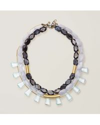 LOFT - Metallic Glossy Multistrand Bar Necklace - Lyst