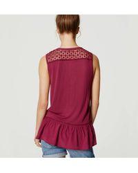LOFT - Red Crochet Mixed Media Peplum Top - Lyst