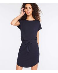 LOFT Blue Lou & Grey Signature Softblend Drawstring Skirt