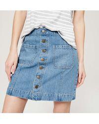 LOFT Blue Button Down Denim Skirt