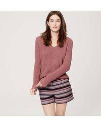 """LOFT - Multicolor Petite Boho Stripe Riviera Shorts With 4"""" Inseam - Lyst"""
