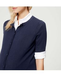 LOFT - Blue Petite Maternity Short Sleeve Cotton Cardigan - Lyst